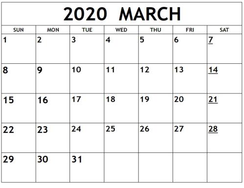 2020-March-Calendar